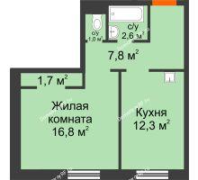 1 комнатная квартира 42,2 м² в ЖК Мичурино, дом № 3.2 - планировка