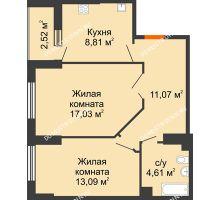 2 комнатная квартира 55,87 м², ЖК Орбита - планировка