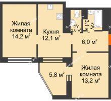 2 комнатная квартира 56,4 м² в ЖК Острова, дом 4 этап (второе пятно застройки) - планировка