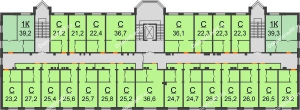 ЖК Красный дом - планировка 3 этажа
