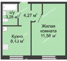 1 комнатная квартира 32,29 м² в ЖК Корабли, дом № 12