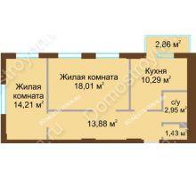 2 комнатная квартира 61,63 м² в ЖК Солнечный, дом № 4