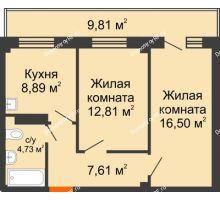 2 комнатная квартира 53,48 м², Жилой дом в 7 мкрн.г.Сосновоборск - планировка