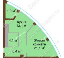 1 комнатная квартира 48,6 м² в ЖК Монолит, дом № 89, корп. 1, 2