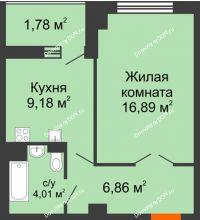 1 комнатная квартира 40,32 м² в ЖК Университетский 137, дом Секция С1 - планировка