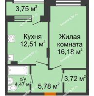 1 комнатная квартира 44,51 м² в ЖК Суворов-Сити, дом 2 очередь секция 1-5 - планировка