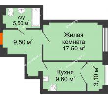 1 комнатная квартира 45,2 м², ЖК Гагарин - планировка