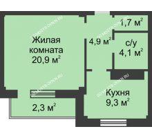 1 комнатная квартира 43,3 м² в ЖК На Победной, дом № 3