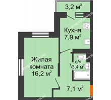 1 комнатная квартира 35,5 м² в ЖК Жюль Верн, дом № 1 корпус 2