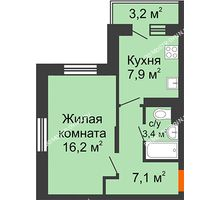 1 комнатная квартира 35,5 м² в ЖК Жюль Верн, дом № 1 корпус 2 - планировка