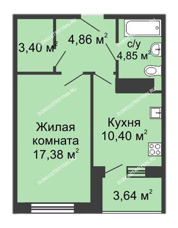 1 комнатная квартира 42,49 м² в ЖК Облака, дом № 1