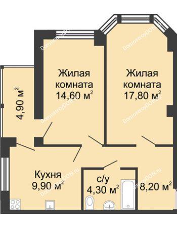 2 комнатная квартира 59,7 м² в ЖК Мега, дом № 2