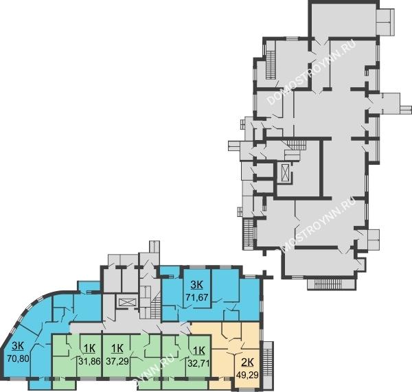 ЖК Волжский-Берег - планировка 1 этажа