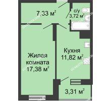 1 комнатная квартира 43,56 м² в ЖК Красная поляна, дом № 6