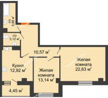 2 комнатная квартира 72,71 м², ЖК Площадь Ленина - планировка