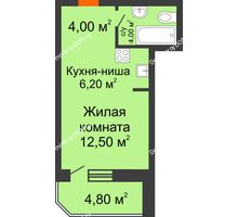 Студия 31,5 м² в ЖК Звездный-2, дом № 4 - планировка