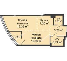 2 комнатная квартира 49,75 м², ЖК Белый Ангел - планировка
