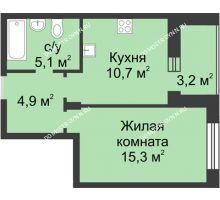 1 комнатная квартира 37,6 м² в ЖК Аквамарин, дом № 6 - планировка