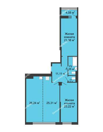 3 комнатная квартира 116,1 м² - ЖК Бристоль