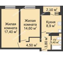2 комнатная квартира 53,85 м² в ЖК Корабли, дом № 11 - планировка