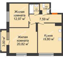 2 комнатная квартира 67,28 м² в ЖК Маленькая страна, дом № 4 - планировка
