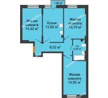 3 комнатная квартира 70,04 м², ЖК Онегин - планировка