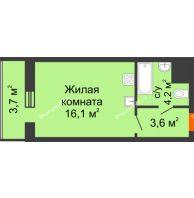 Студия 27,6 м², ЖК Космолет - планировка
