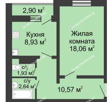 1 комнатная квартира 43,58 м² в ЖК Бурнаковский, дом № 39