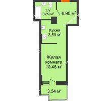 Студия 25,9 м² в ЖК Сердце Ростова 2, дом Литер 8 - планировка