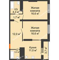 2 комнатная квартира 68,9 м², ЖК Космолет - планировка