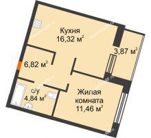 2 комнатная квартира 41,38 м² в ЖК Квартал на Московском, дом Альфа - планировка
