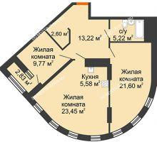 2 комнатная квартира 82,86 м² в ЖК Дом на Набережной, дом № 1 - планировка