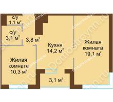 2 комнатная квартира 53,15 м² в ЖК НОВИНКИ Smart City, дом № 21