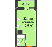 Студия 21,5 м² в ЖК Подкова на Родионова, дом № 2 - планировка