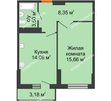 1 комнатная квартира 43,16 м², ЖК Орбита - планировка
