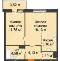 2 комнатная квартира 47,4 м² в ЖК На Хмельницкого, дом № 3 - планировка