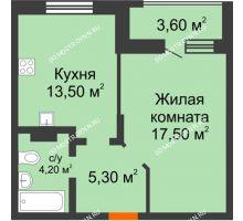 1 комнатная квартира 44,1 м² в ЖК Подкова на Цветочной, дом № 8 - планировка