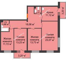 4 комнатная квартира 96,78 м² в ЖК Новый Академгородок, дом № 2 - планировка