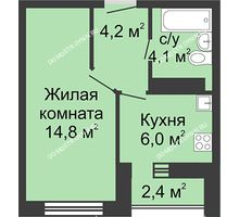 1 комнатная квартира 29,1 м² в ЖК Бурнаковский, дом № 27
