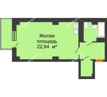 Студия 40,76 м² в ЖК Сокол Градъ, дом Литер 4 - планировка