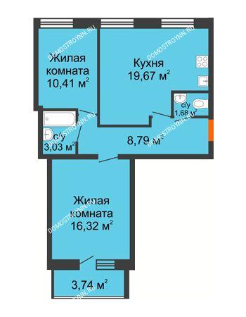 2 комнатная квартира 61,77 м² в ЖК АВИА, дом № 2