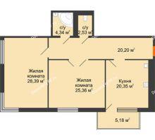 2 комнатная квартира 102,72 м², Жилой дом на ул. Платонова, 9,11 - планировка