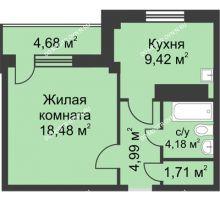 1 комнатная квартира 40,8 м² в ЖК На Победной, дом № 4