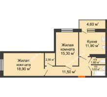 2 комнатная квартира 68 м² в ЖК Я, дом  Литер 2 - планировка
