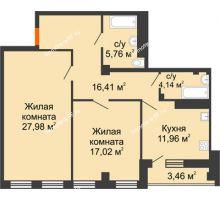 2 комнатная квартира 86,73 м², ЖК 311 - планировка