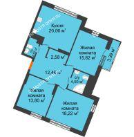 3 комнатная квартира 93,35 м² в ЖК Книги, дом № 2 - планировка