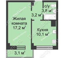1 комнатная квартира 37,4 м² в ЖК Зенит, дом д. 7 - планировка