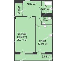 1 комнатная квартира 51 м² в  ЖК РИИЖТский Уют, дом Секция 1-2 - планировка
