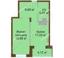 1 комнатная квартира 46,1 м² в ЖК Солнечный город, дом на участке № 208