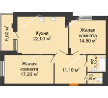 2 комнатная квартира 70,5 м² в ЖК Вересаево, дом Литер 5/1 - планировка